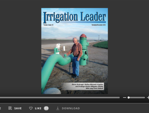 Screenshot of flipbook PDF reader for Irrigation Leader November/December 2011