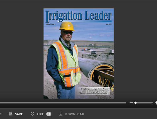 Screenshot of flipbook PDF reader for Irrigation Leader May 2011