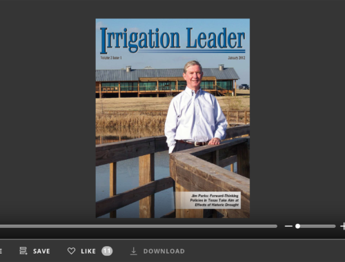 Screenshot of flipbook PDF reader for Irrigation Leader January 2012