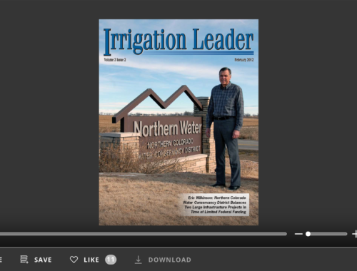 Screenshot of flipbook PDF reader for Irrigation Leader February 2012