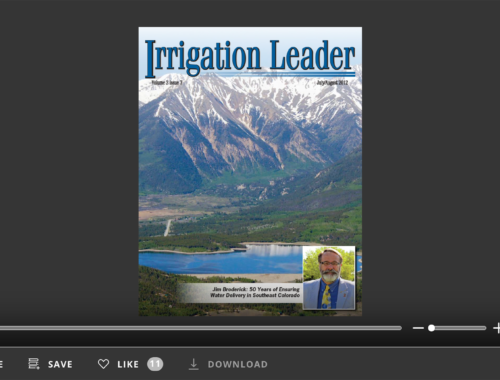 Screenshot of flipbook PDF reader for Irrigation Leader July/August 2012