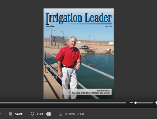 Screenshot of flipbook PDF reader for Irrigation Leader April 2013
