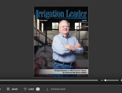 Screenshot of flipbook PDF reader for Irrigation Leader June 2013