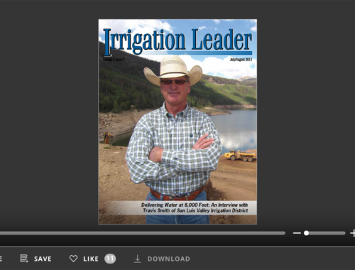 Screenshot of flipbook PDF reader for Irrigation Leader July/August 2013