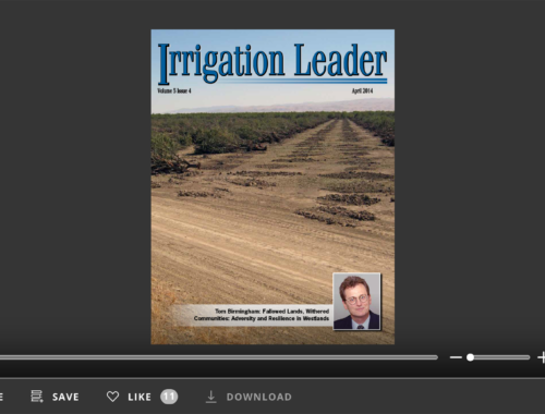 Screenshot of flipbook PDF reader for Irrigation Leader April 2014