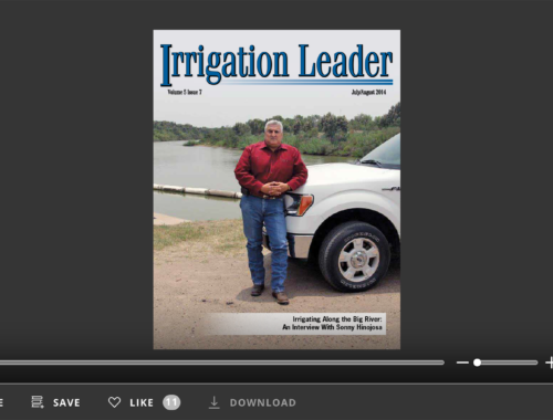 Screenshot of flipbook PDF reader for Irrigation Leader July/August 2014