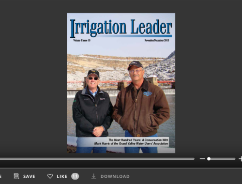 Screenshot of flipbook PDF reader for Irrigation Leader November/December 2015