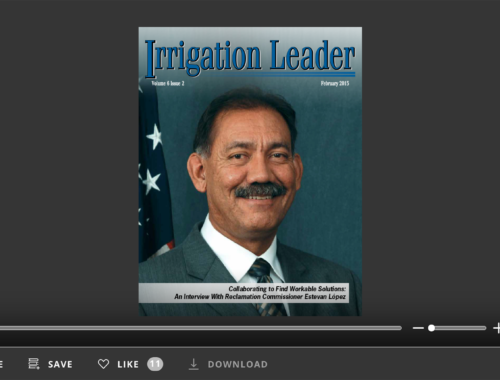 Screenshot of flipbook PDF reader for Irrigation Leader February 2015