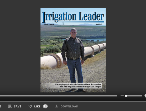 Screenshot of flipbook PDF reader for Irrigation Leader April 2015