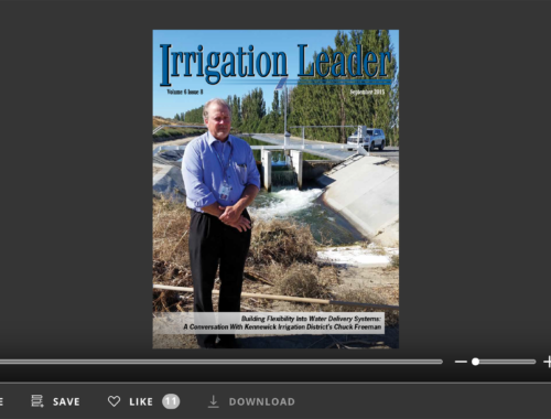 Screenshot of flipbook PDF reader for Irrigation Leader September 2015