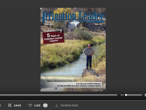Screenshot of flipbook PDF reader for Irrigation Leader October 2015