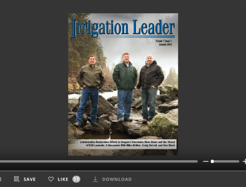 Screenshot of flipbook PDF reader for Irrigation Leader January 2016