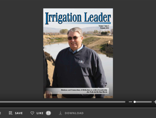 Screenshot of flipbook PDF reader for Irrigation Leader February 2016