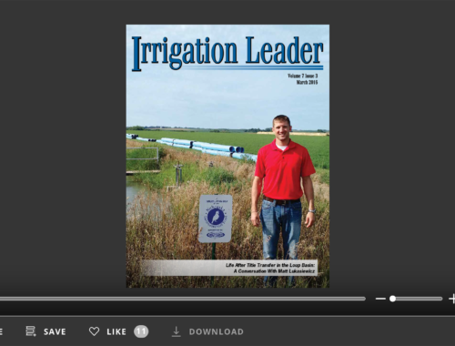 Screenshot of flipbook PDF reader for Irrigation Leader March 2016
