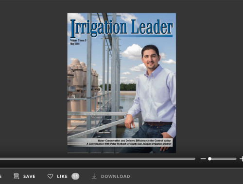 Screenshot of flipbook PDF reader for Irrigation Leader May 2016