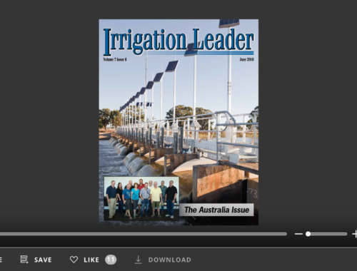 Screenshot of flipbook PDF reader for Irrigation Leader June 2016