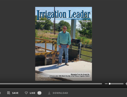Screenshot of flipbook PDF reader for Irrigation Leader July/August 2016