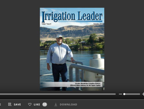 Screenshot of flipbook PDF reader for Irrigation Leader September 2016