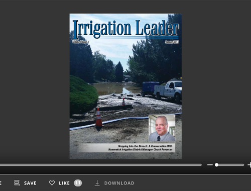 Screenshot of flipbook PDF reader for Irrigation Leader January 2017