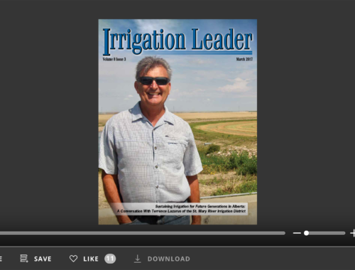 Screenshot of flipbook PDF reader for Irrigation Leader March 2017