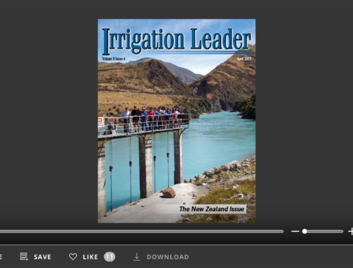 Screenshot of flipbook PDF reader for Irrigation Leader April 2017