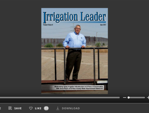 Screenshot of flipbook PDF reader for Irrigation Leader June 2017