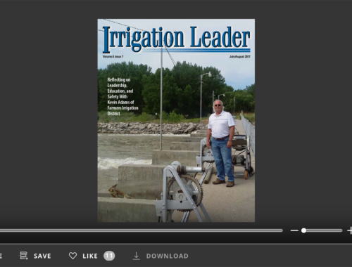 Screenshot of flipbook PDF reader for Irrigation Leader July/August 2017