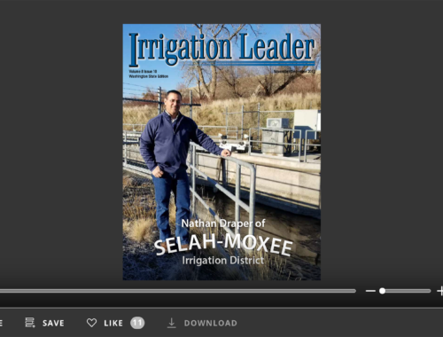 Screenshot of flipbook PDF reader for Irrigation Leader Washington State Edition November/December 2017