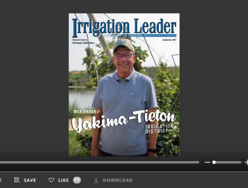 Screenshot of flipbook PDF reader for Irrigation Leader Washington State Edition September 2017