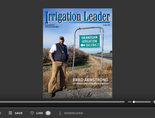 Screenshot of flipbook PDF reader for Irrigation Leader Washington State Edition October 2017