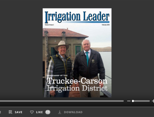 Screenshot of flipbook PDF reader for Irrigation Leader February 2018