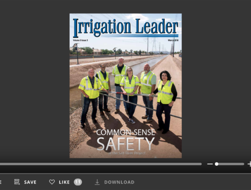 Screenshot of flipbook PDF reader for Irrigation Leader March 2018