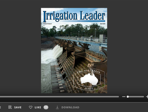 Screenshot of flipbook PDF reader for Irrigation Leader April 2018