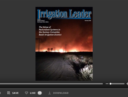 Screenshot of flipbook PDF reader for Irrigation Leader Washington State Edition February 2018