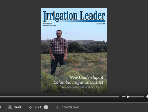 Screenshot of flipbook PDF reader for Irrigation Leader Washington State Edition July/August 2018