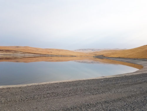 Photo of the reregulation reservoir at 20 percent capacity