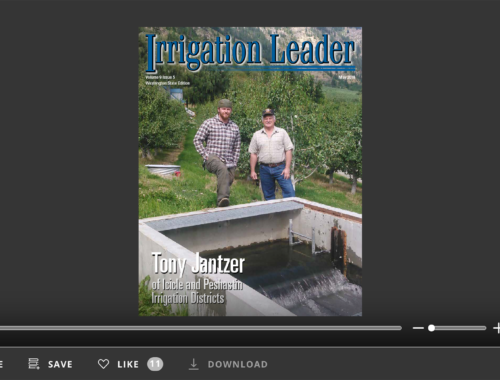 Screenshot of flipbook PDF reader for Irrigation Leader Washington State Edition May 2018. Volume 9 Issue 5