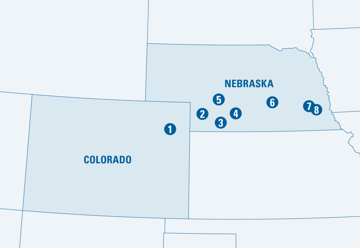 Map showing Colorado and Nebraska with different locations marked with numbers 1 through 8.