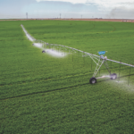 Aerial photo of a pivot watering a field