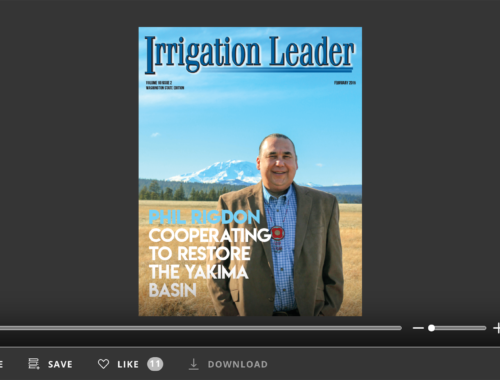 Screenshot of flipbook reader for Irrigation Leader Washington State February 2019