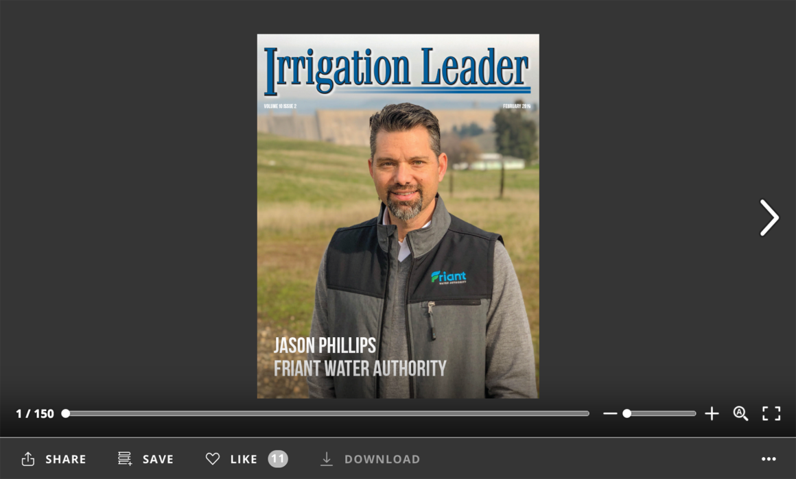 Screenshot of flipbook reader for Irrigation Leader February 2019