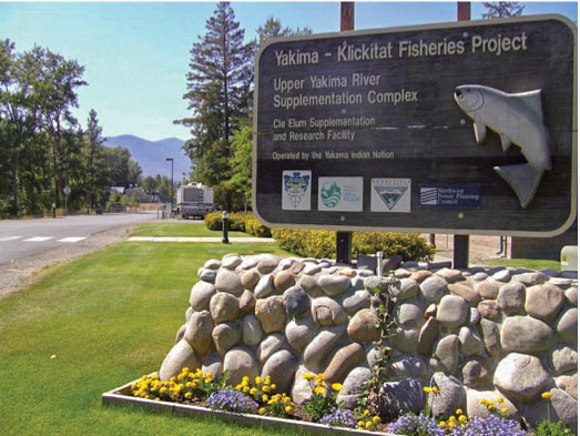 Photo of the Kaima Klikitat Fisheries Project Sign.
