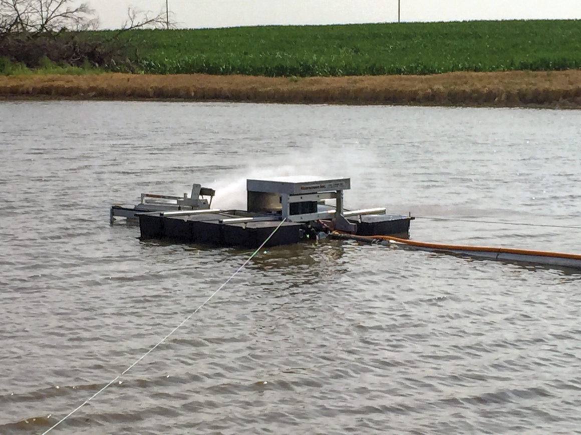 Photo of a riverscreen pump floating in a body of water