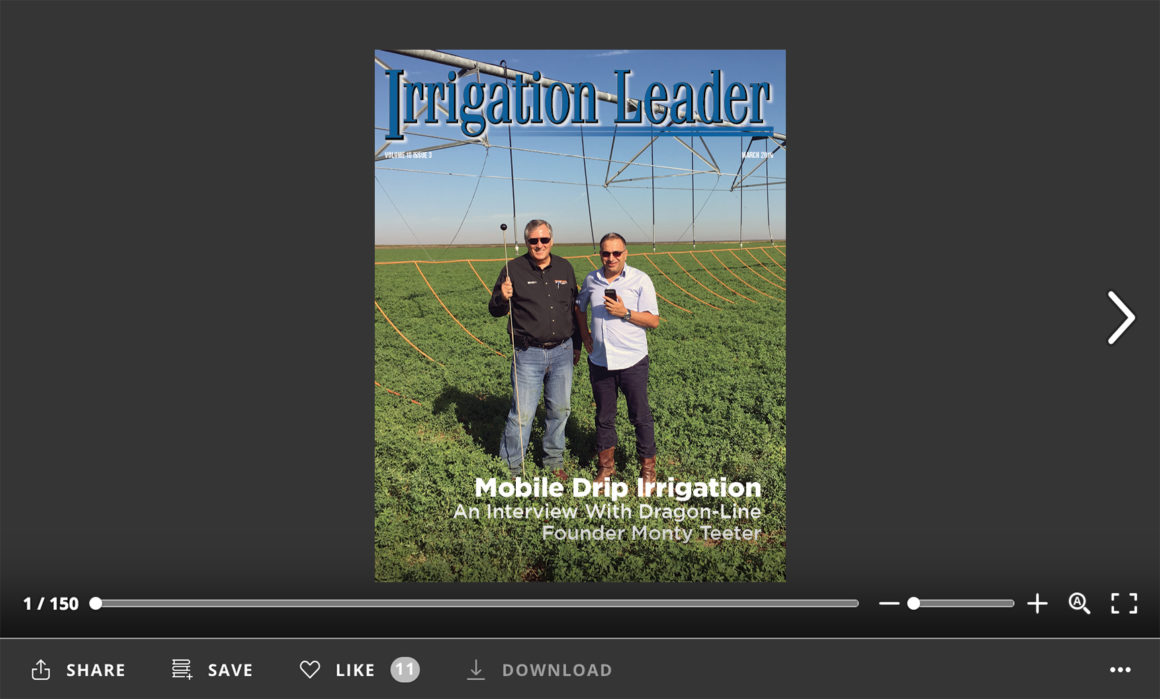 Screenshot of flipbook PDF reader for Irrigation Leader March 2019. Volume 10 Issue 3.